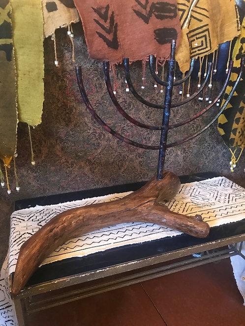 Tie Dye wood Menorah