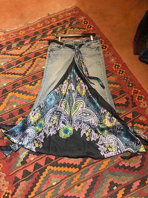 Black paisley jean skirt