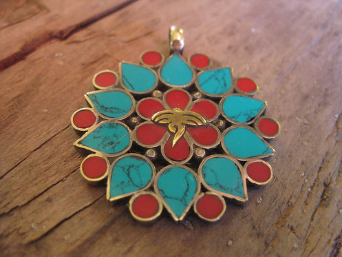 Coral and Turquoise flower pendant