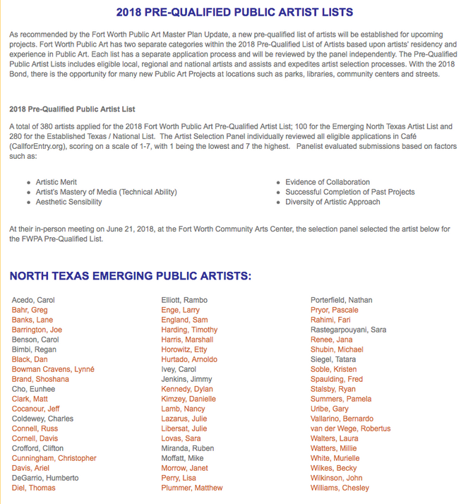 Nancy Lamb Named in FWPA Pre-Qualified Artist List