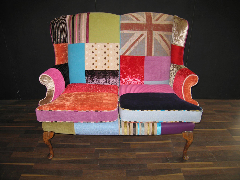 Patchwork Winged Sofa