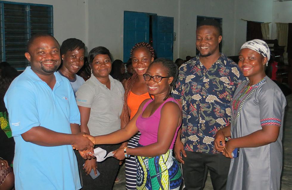 Kwaku Sarkodie (Managing Director of Hope Children's Village) Receives Donation from Independent Children of Village of Hope