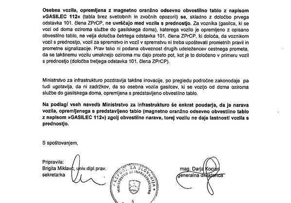 Potrdilo ministrstva za tablo GASILEC 112