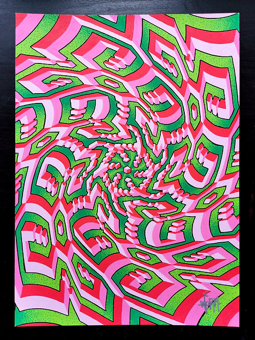 """""""Melon Exploding into the Universe"""" original drawing"""