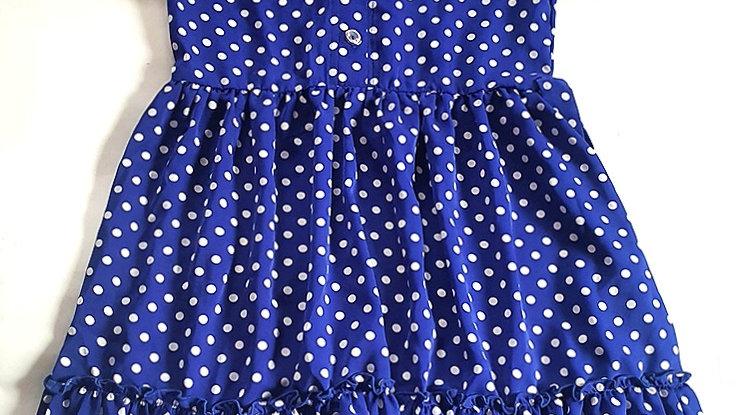 Платье в для девочек синее приталенное в горох Modton дети