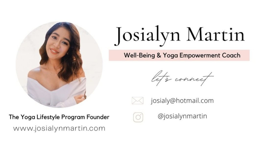 Picture and contact information of well-being and yoga empowerment coach, Josialyn Martin
