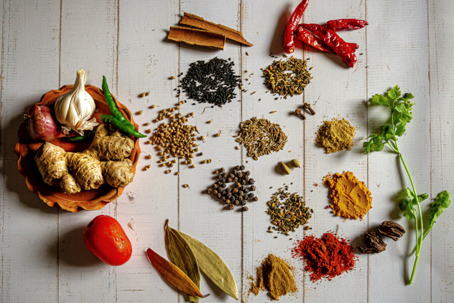 An assortment of herbs and spices