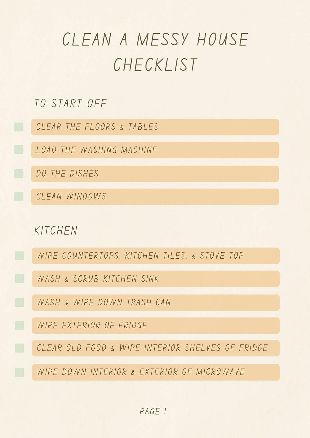 clean a messy house checklist