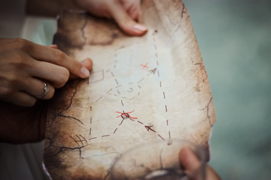 A couple looking at a treasure hunt map together