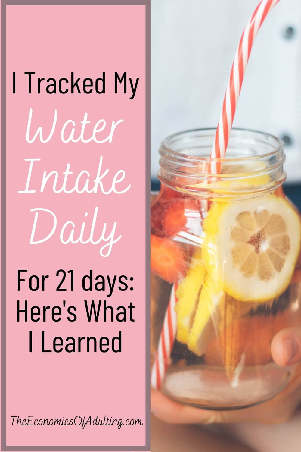 A mason jar filled with water, lemon and strawberry slices.