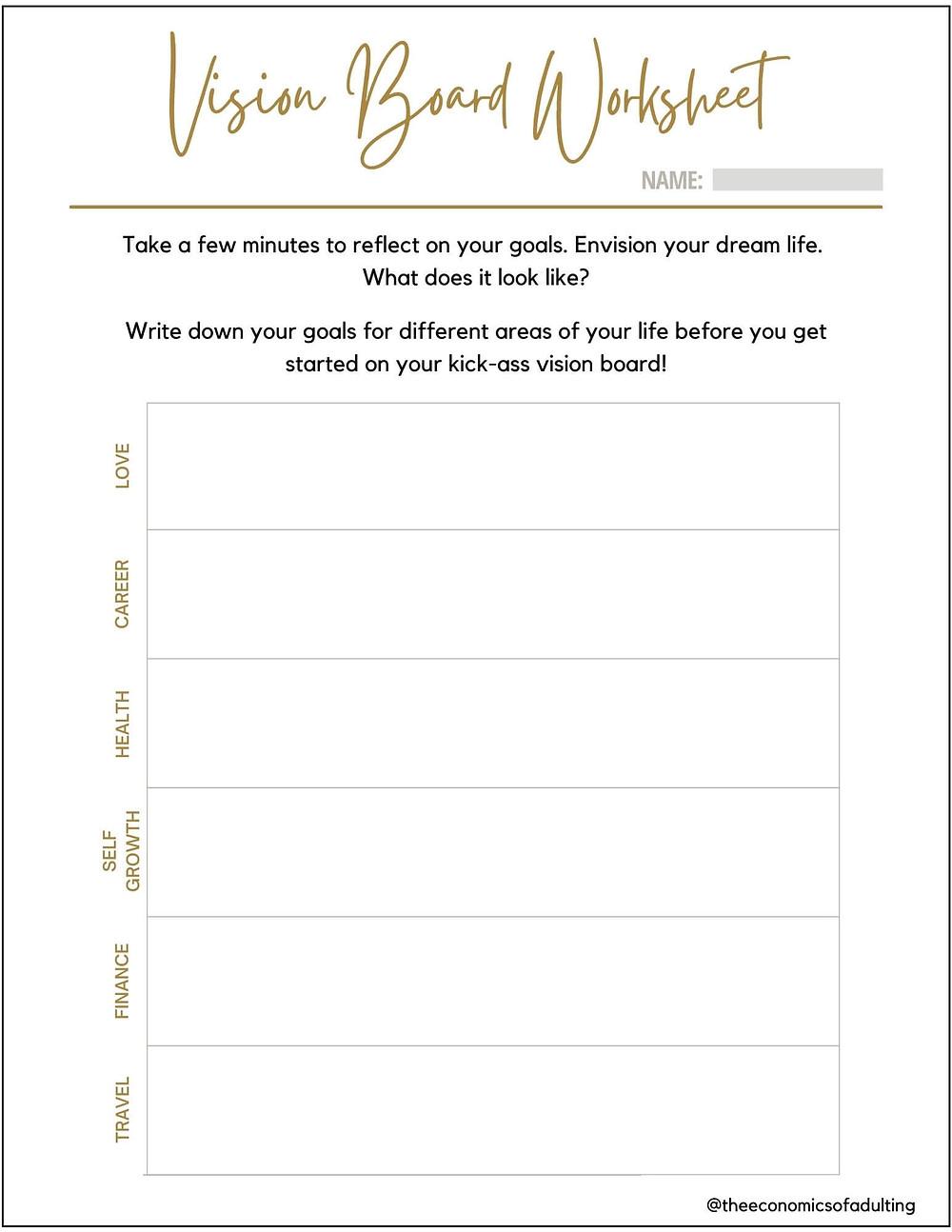 vision board planning worksheet