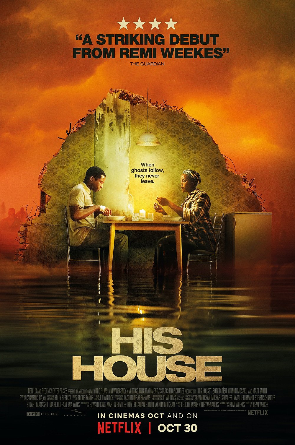 Promotional poster for a movie on Netflix right now called 'His House'