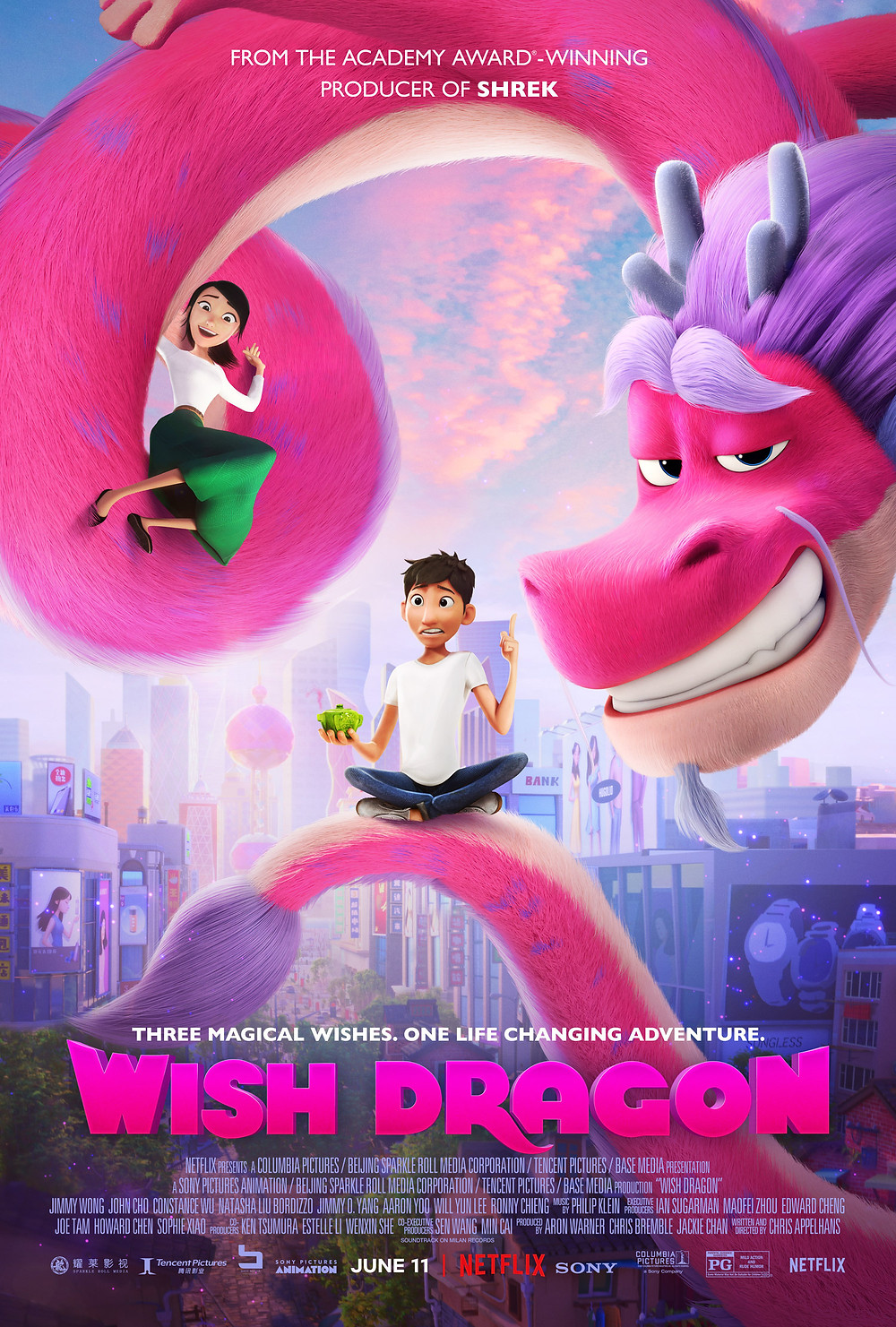 Promotional poster for a movie on Netflix right now called 'Wish Dragon'