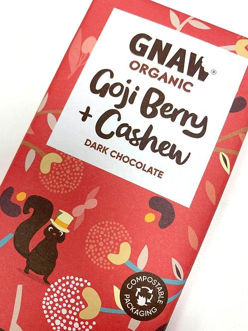 Organic Goji Berry & Cashew Dark Chocolate Bar • Vegan