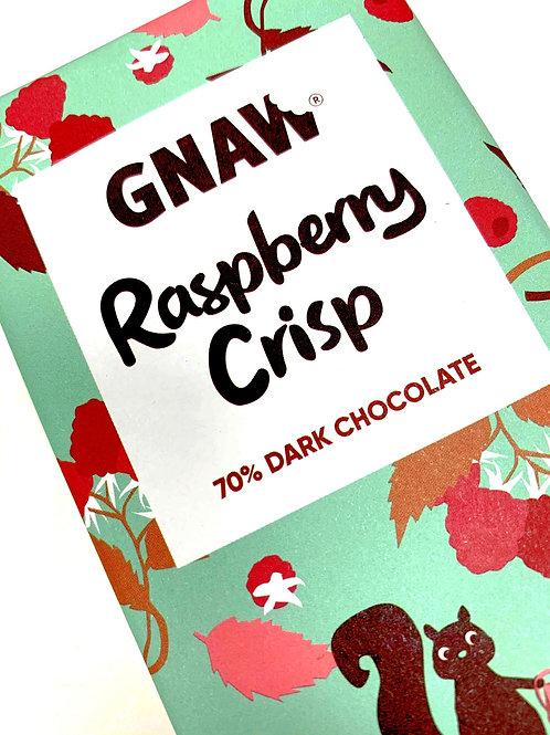 Raspberry Crisp Dark Chocolate Bar • Vegan