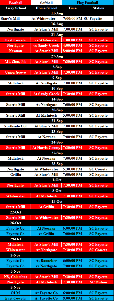 STREAM CITY Fayette fall broadcast schedule.png