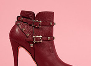 Leather Ankle Boots, with Studded Detail Around the Ankle   Gold Metal