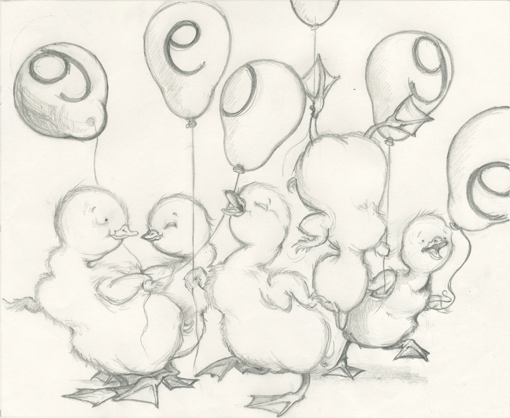 ducklings with balloons...