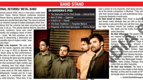 Featured on Times of India Band Stand