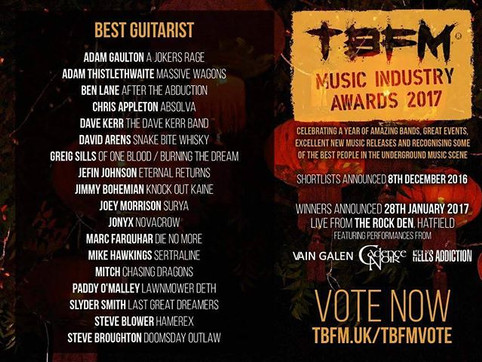Jefin Johnson Nominated for the Best Guitarist Category in TBFM Music Industry  Awards