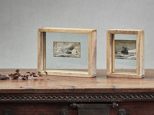 Chunky Wooden frame supporting glass tray in the centre