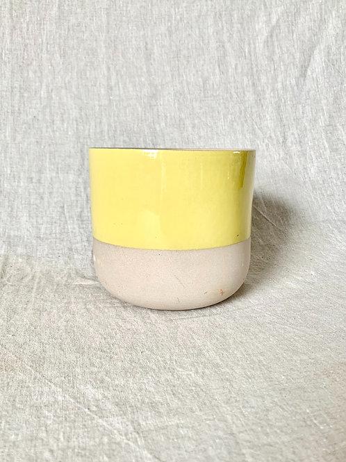 Ceramic Yellow Stripe Plant Pot