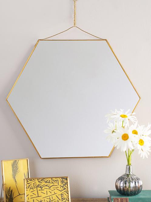 Brass Hexagon Mirror - Large