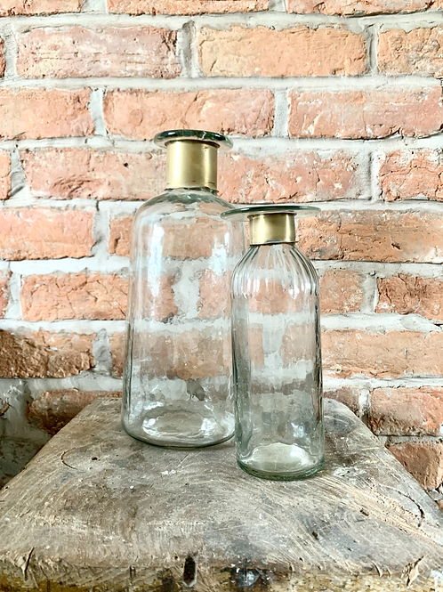 Glass Vase with Brass Neck