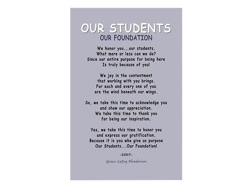 Poetry Poster - Our Students, Our Foundation
