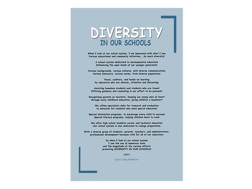 Poetry Poster - Diversity in our Schools