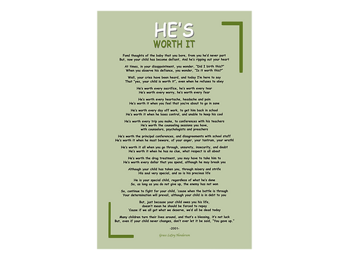 Poetry Poster - He's Worth It