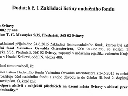 Dodatek č. 1. Zakládací listiny nadačního fondu