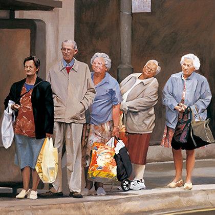 Bus stop queue