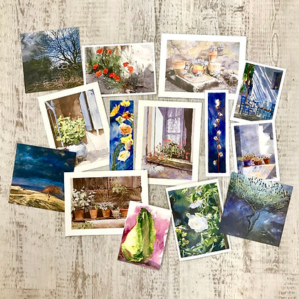 Selection of 10 still life and landscape cards