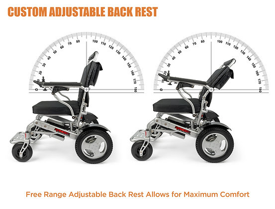 2021 RANGER Reclining Lightweight Folding Power Wheelchair(Silver)