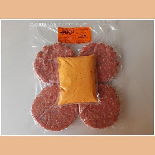 Pac com 04 Hambúrgueres Artesanais de 200g cada + Molho Especial