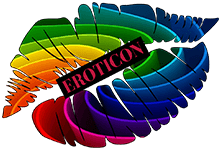 a set of rainbow lips with the word Eroticon between them
