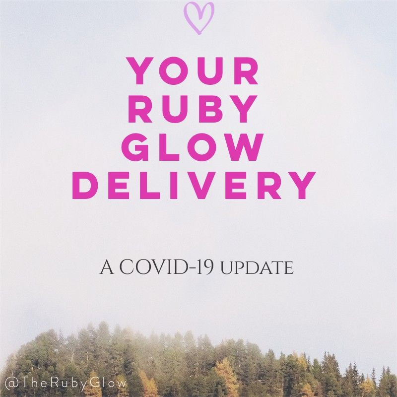 sky in the background with Your Ruby Glow Delivery in pink and a love heart