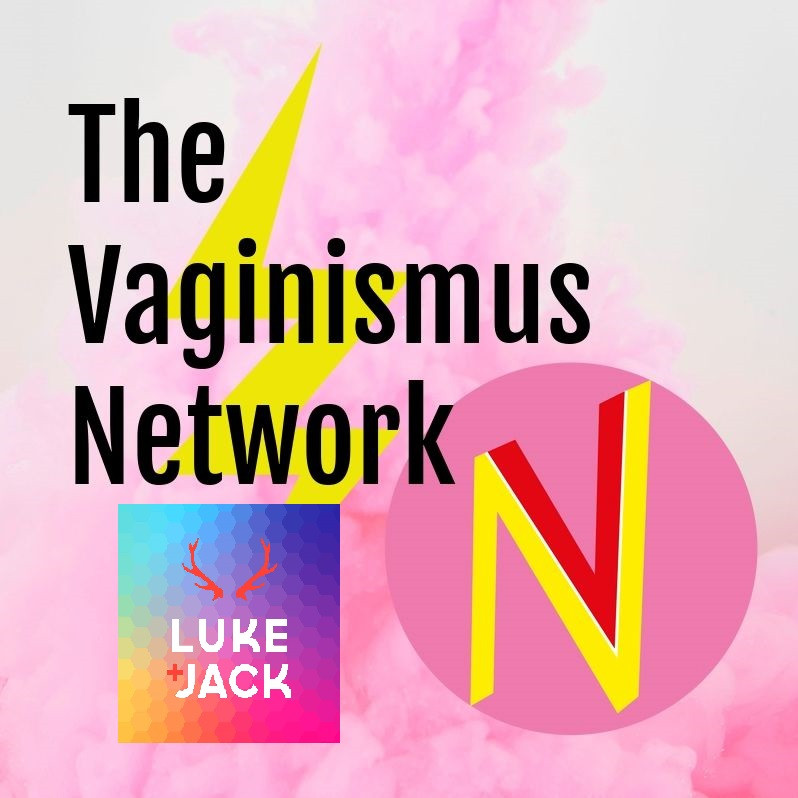 bold black font says - The Vaginismus Network with pink and yellow VN logo and small rainbos stag logo for Luke and jack - for vaginismus and you chat
