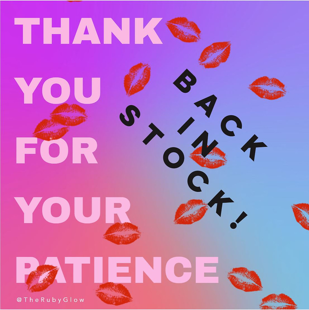purple background with lip kisses in red - words: thank you for your patience - back in stock!
