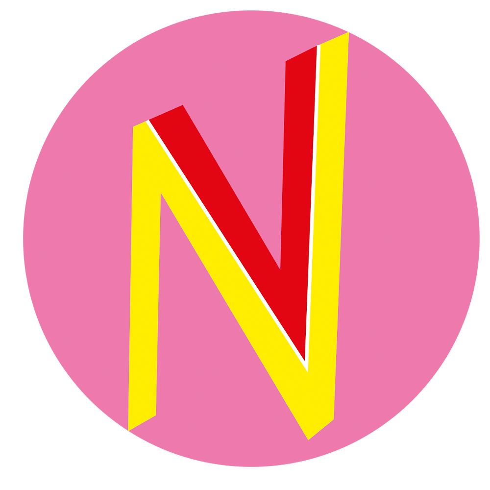 Pink circle with yellow N and red V - the vaginismus logo