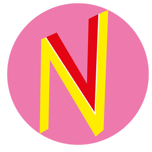 the vaginismus logo - a pink circle with a yellow N and Red V nestled into it