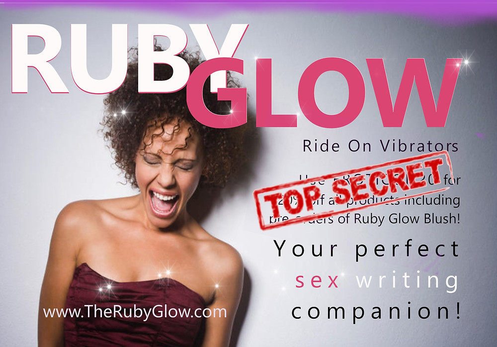 Ruby Glow logo with smiling woman with words Your Perfect sex writing companion - some text is obscured by a TOP SECRET sign