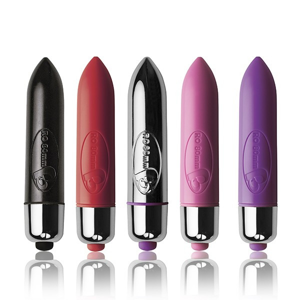 five bullet vibrators stand on end, black, red, silver, pink, purple