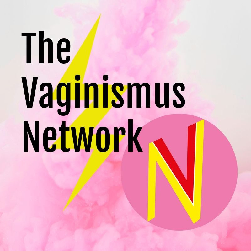 a pink fluffy background with lightning bolt with words The Vaginismus Newtork - with a VN for their logo