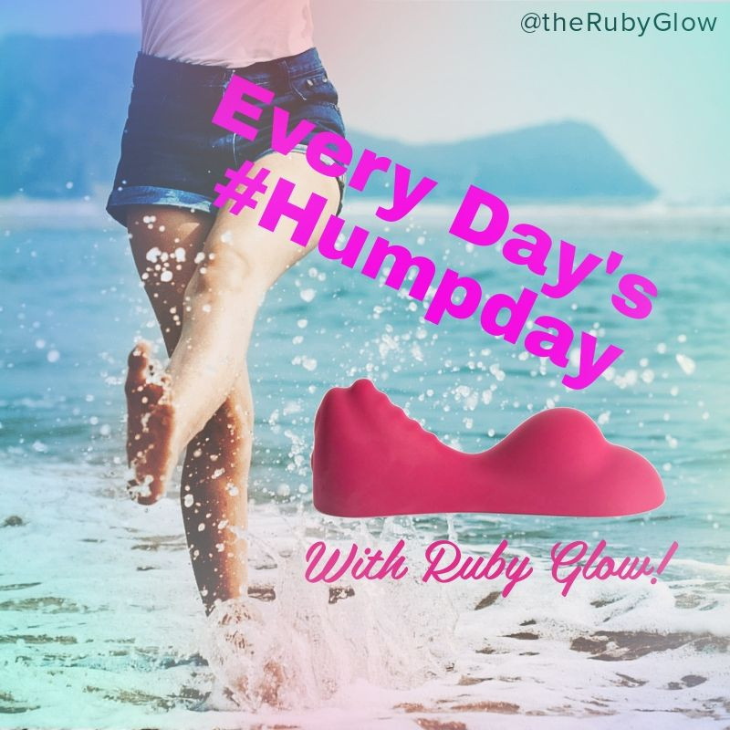 A woman running and splashing through the sea with a Ruby Glow on top with words, every day's humpday with Ruby Glow