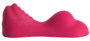 a ruby glow sex toy - pink silicon with two humps - to place between your legs. side view.