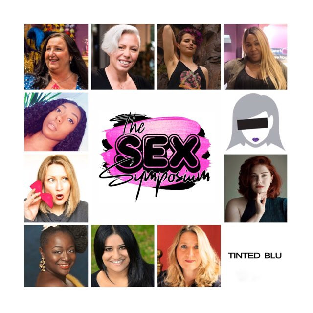a pink logo with sex symposium written and photos of 11 participants listed in blog