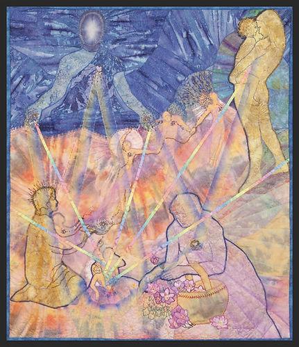 death and ascension mystical journey art quilt