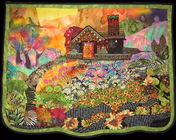 quilt of house and garden on sunny day